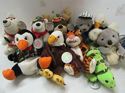 1998-99 COCA-COLA Bean Bag Plush Lot of 10 Stuffed  Tags  22054