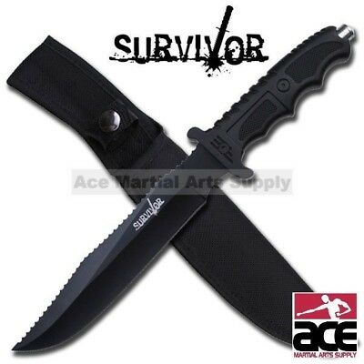 "13"" Survivor Bowie Tactical Full Tang Knife w/ Glass Breaker Hunting Survival"