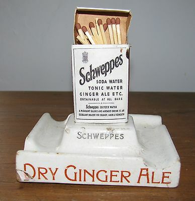 1930s Schweppes Soda Water/Dry Ginger Ale Ashtray & Match Holder