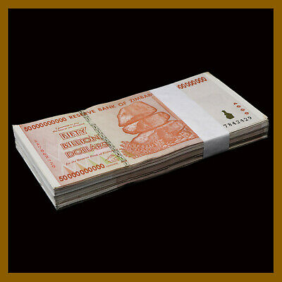 100 Pcs Bundle x Zimbabwe 50 Billion Dollars, 2008 AA/AB Cir, 100 Trillion Ser