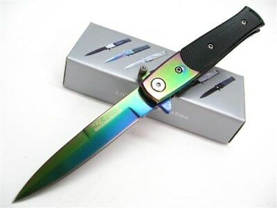 TAC-FORCE Rainbow ASSISTED Straight Edge MILANO Stiletto Folding Knife New!