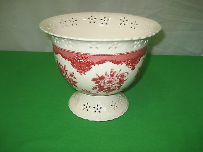 Red Floral On White Ceramic Pot Planter Pottery Vase A Gift From FTD