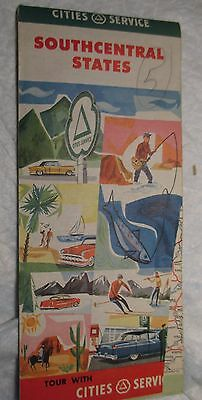 1950 60 Cities Service SOUTHCENTRAL STATES Vintage Road Map us service station