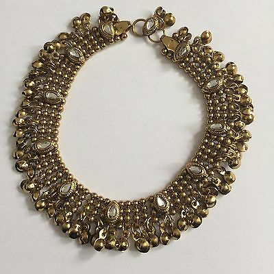 Gold Mughal Indian Bollywood Anklet Payal Foot Chain Pearl Costume Jewellery New