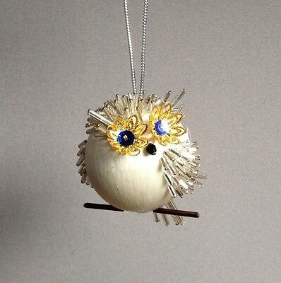 Kit OWL BE HOME FOR CHRISTMAS Gramma's Old Attic Ornament Satin Silk Ball Beads