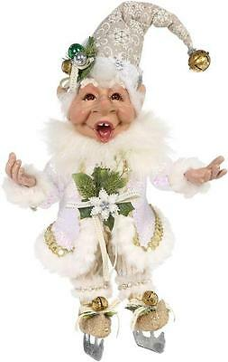"""NEW Mark Roberts 11"""" Gold and Ivory Ice Skating Elf Christmas Figure 51-68214"""