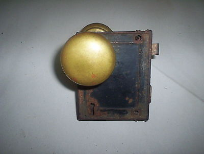 "Antique Door Lock Set Latch Mechanism & 2"" Diameter Brass Door Knobs Set Lot"