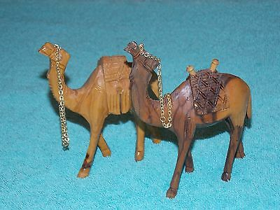 """(2) Hand Carved Camels 4-3/4"""" Height B1507"""
