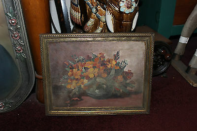 Antique Victorian Flower Floral Oil Painting On Board-#3-Detailed-Rich Art
