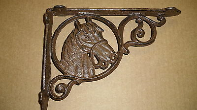 4 - Rustic Br Horse In Circle  Shelf Brackets  Cast Iron
