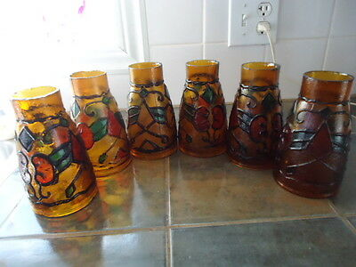 "5 vintage brown glass lamp shades lantern globe 2"" hole & 3 1/4 "" ( 5 GLOBES"
