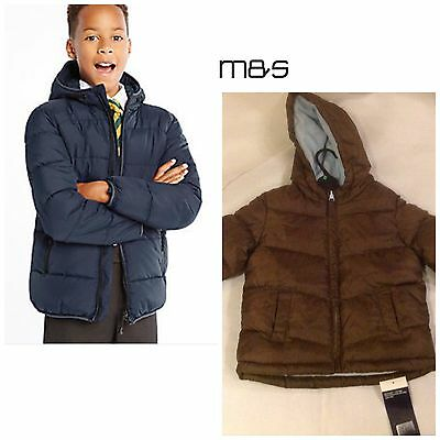 Boys M&S Winter Hooded Jacket 9006 Stormwear Padded Chocolate BNWT Age 1-3
