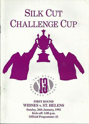 Widnes v St Helens 26/01/92 Rugby League Programme
