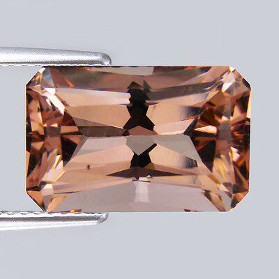 Natural Morganite 3.46 Cts Emerald Shape Peach Pnk Color gemstone