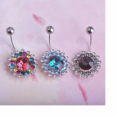 Navel Belly Bars full Austrian Crystal Dangly Body Piercing Belly Button flower