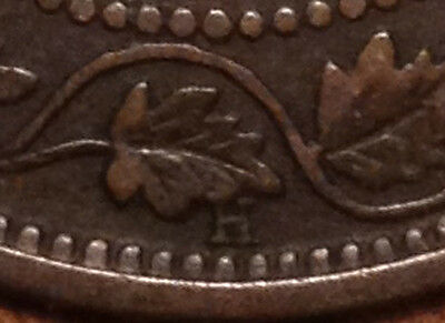 """1898H Canada Large Cent Super Scarce High """"h"""" Variety"""