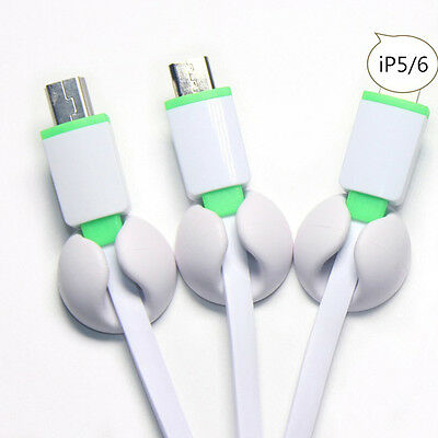 5Pc White Tidy Wire Cord Lead Drop Clips USB Cable Charger Holder Sticky Clips