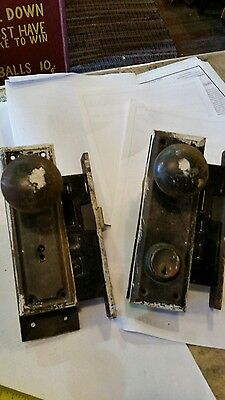 Antique doorknob and lockset lot. Sargent Brand 2 sets. Architectural salvage