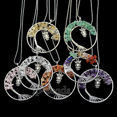 Natural Gemstones Reiki Chakra Chips Beads Tree Of Life OWL Healing Pendant 50mm