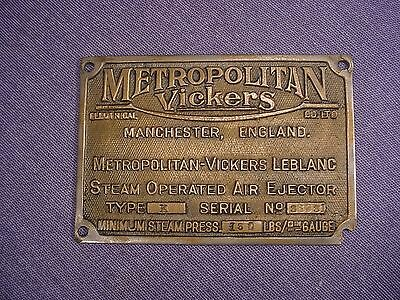 Old solid Bronze Makers Plate Sign Metropolitan Vickers Manchester  STEAM
