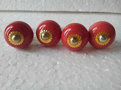 Old Repro Red Color Ceramic Knobs Drawer pull Furniture Handle lot of 4,FNE EHS