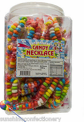 CANDY NECKLACE TUB -  48 pieces  -  KIDS PARTY LOLLIES Candy Buffet Weddings