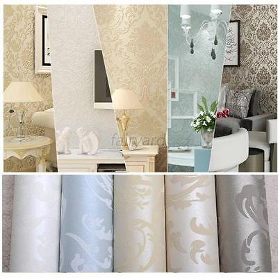 10M/Roll Embossed Feature Flocked Non-woven Metallic Damask Wall paper Roll