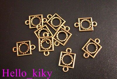 200Pcs Antiqued gold plt twisted circle square links A10