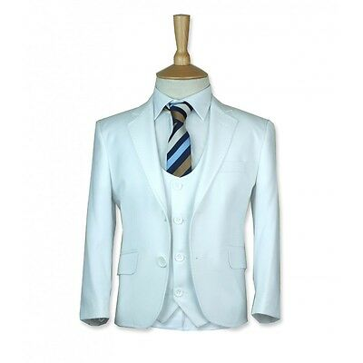 Boys White Communion Suit Designer Page Boy Wedding Slim Fit Suit in White