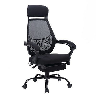 High Mesh Back Reclining Office Chair Computer Desk Task w/ Pull Out Ottoman New