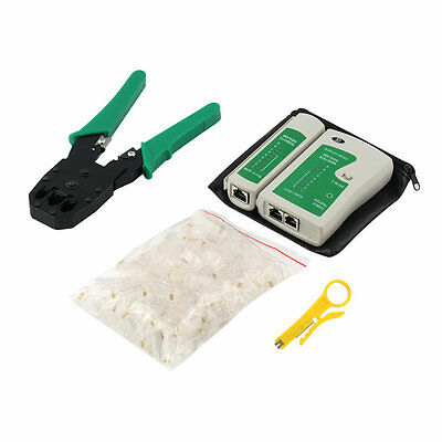 Cable Tester + Crimp Crimper+100 RJ45 CAT5 CAT5e Connector Plug Network Tool OG