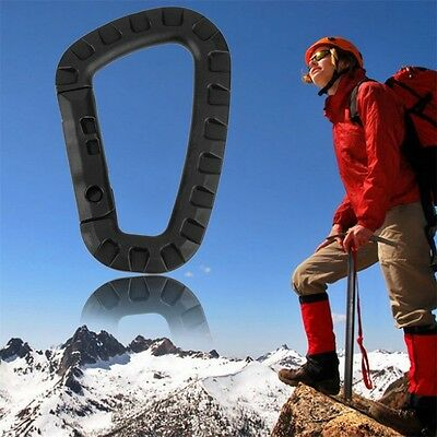 D Shape 200LB Mountaineering Buckle Snap Clip Plastic Steel Climbing Hooks OG
