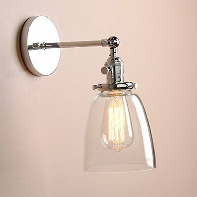 Permo Industrial Vintage Single Sconce With Oval Cone Clear Glass Shade 1-light