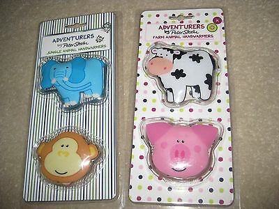 Children's or Adult Handwarmers re-useable 2 sets of two animals.Skiing walking.