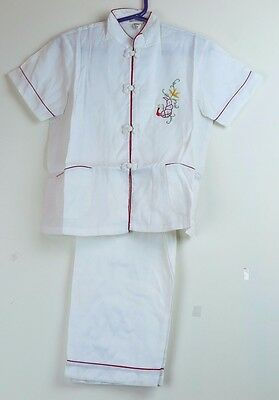 Traditional Chinese Children's White Uniform Shirt Pants - Size 6 - New