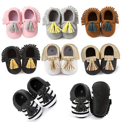 Baby Kids Boy Girl Anti-slip Shoes Tassel Synthetic Leather Moccasin Soft Sole