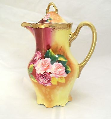 Carl Tielsch Chocolate Pot Coffee Pot CT Floral American Beauty