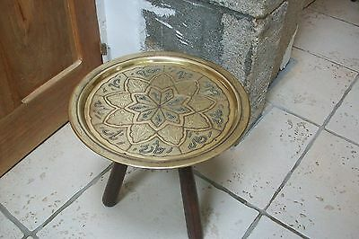 vintage round morrocan brass tray copper pewter detail - display, serving,  #35