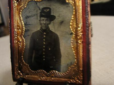 ID'ed  CM LAMSON CIVIL WAR UNION INFANTRY SOLDIER 1/9th PLATE TINTYPE HARDEE HAT