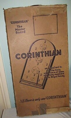 Vintage Wooden Corinthian 10 Bagatelle The Master Board & Cue in box 1920s-1930s