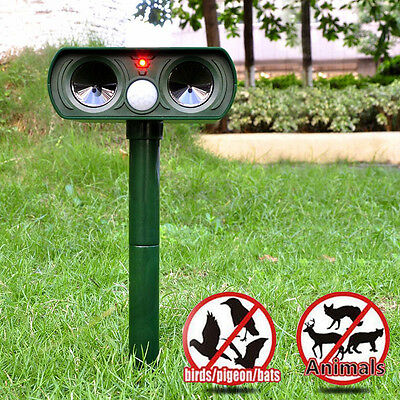 2xSOLAR Dual Ultra Sonic Garden Animal Scarer PIR Deterrent Cat Dog Fox Repeller