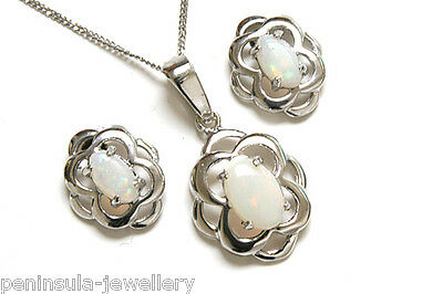 Sterling Silver Celtic Opal Pendant and Earring Set Gift Boxed Made in UK