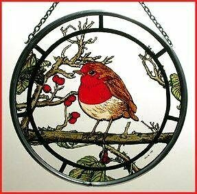 Decorative Hand Painted Stained Glass Window Sun Catcher/Roundel in a Fat Robin