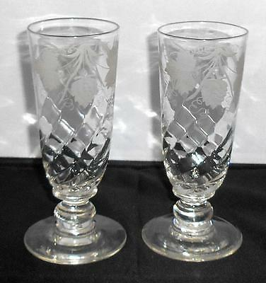 TWO GEORGIAN TALL WRYTHEN ENGRAVED HOPS & BARLEY ALE / RUMMER GLASSES c.1830