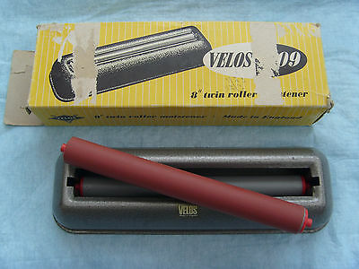 """Vintage Velos 8"""" Stamp Moistener Twin Rollers Made in England Now Rare To Find"""