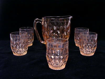 WINDSOR JEANETTE Pink Depression Pitcher and Five Tumblers  Glasses - 1936-46