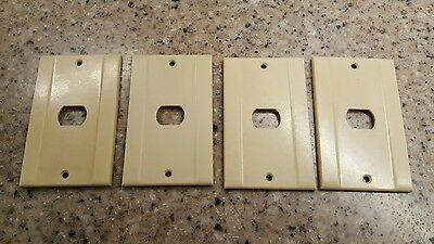 (4) Vtg Ivory Bakelite Push Button  Wall Switch Plate Covers