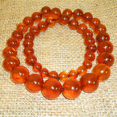 Vintage Genuine Baltic Egg Yolk Amber Round Beads, Very Nice Necklace 66 gr! 102
