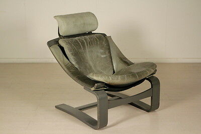 Armchair Lacquered Wood Foam Seat Leather Upholstery Vintage Italy 1960s-1970s