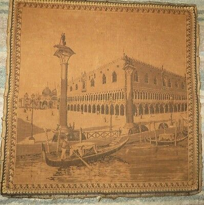ANTIQUE FRENCH TAPESTRY PANEL ~ ROMANTIC  VENETIAN WATER SCENE C.1890's
